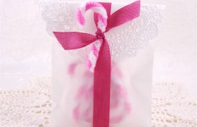 Pink and White Chenille Candy Canes